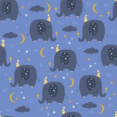 Cute seamless pattern with funny sleeping elephants