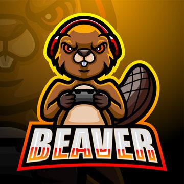 Beaver mascot esport logo design