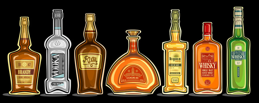 Vector Set of Alcohol Bottles, group of cut out illustrations of hard spirit drinks in bottles with decorative labels, lot collection of cartoon liquor bottles in a row on dark background.