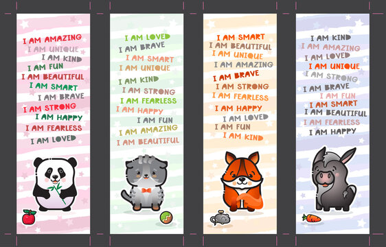 Bookmark set with cute animal and affirmations for kids. Vector.