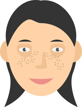 Human face with freckles long hair vector graphic clipart illustration or icon isolated