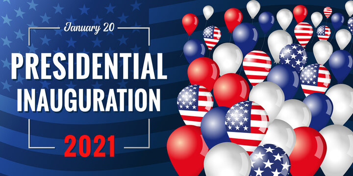 Presidential inauguration USA January 20, 2021 banner with flying in the sky balloons. Social distancing concept US president inauguration with text and balloons with flag. Isolated vector design
