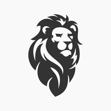 lion silhouette vector illustration template