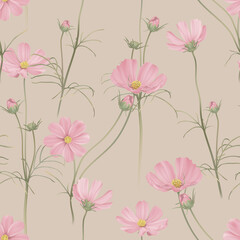 Floral seamless pattern, pink cosmos flowers with leaves on bright brown
