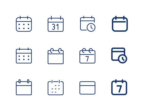 Calendar with clock. Vector line icon calendar. Agenda icons set.