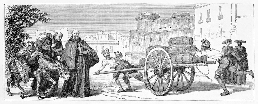 guys transporting water barrels on a cart outdoor in Naples street, Italy, and two friars with mule. Ancient grey tone etching style art by A. De Bar, Le Tour du Monde, 1861