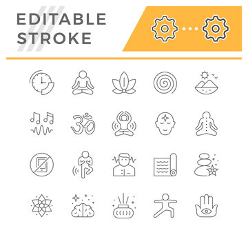 Set line icons of meditation and yoga