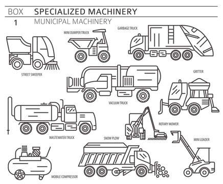 Special industrial road and municipal machine linear vector icon set isolated on white