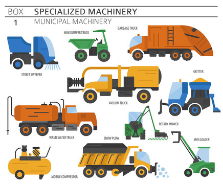 Special industrial road and municipal machine. Colour flat vector icon set isolated on white