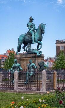 Christian V statue in Kongens Nytorv, King's New Square, in Copenhagen by day, Denmark
