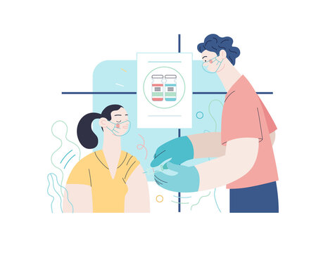 Medical insurance - coronavirus COVID-19 vaccination -modern flat vector concept digital illustration of a therapist vaccinating a female patient, medical office or laboratory