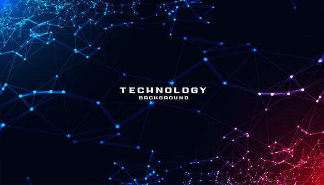 abstract technology background with low poly mesh diagram