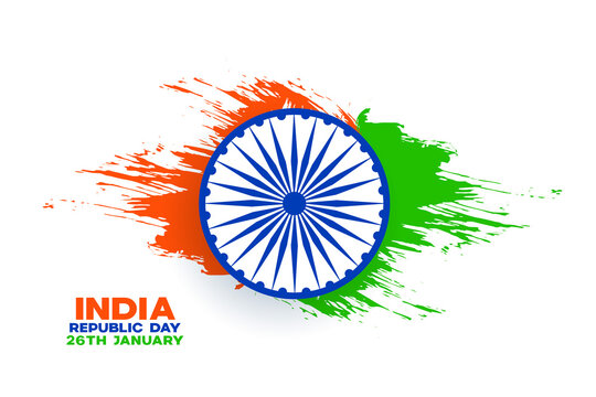 india republic day background with watercolor splash