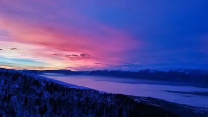 Beautiful cloudy sunset landscape