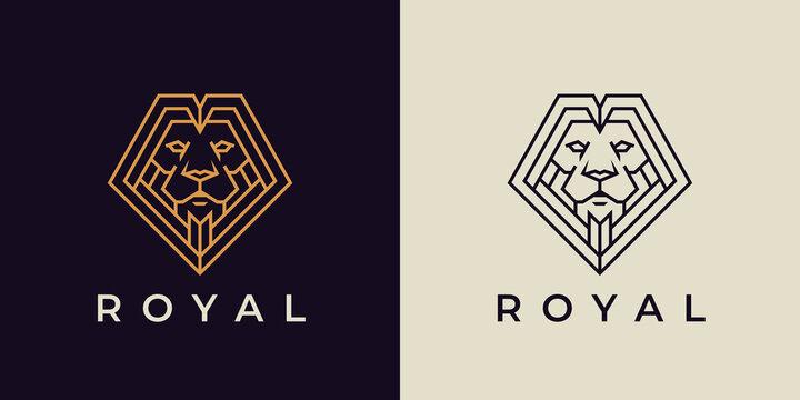 Royal Lion logo. Elegant Leo line icon. Premium secure, bold and elegant brand symbol. Vector illustration.