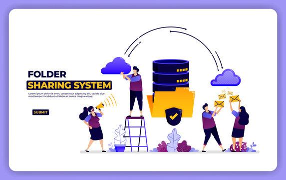 website design of folder sharing system. database system data sharing management. designed for landing page, banner, website, web, poster, mobile apps, homepage, social media, flyer, brochure, ui ux
