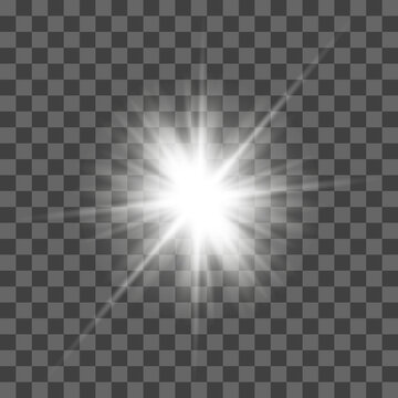 White glowing light flashes with transparent. Vector illustration for decorating cool effect with sequins rays. Bright Star. Transparent background, bright flash.
