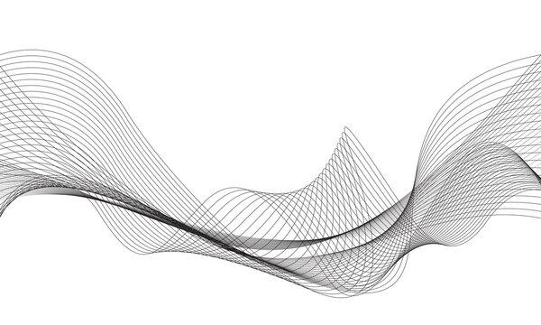 Abstract black line wave curve on white design modern technology background vector illustration.