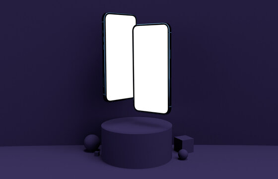 Realistic 3d render smartphone mockup Dark