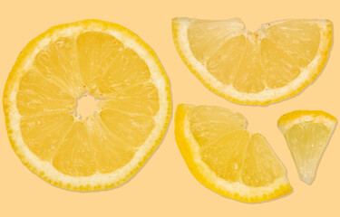 fresh and healthy - background of different lemon pieces - beige