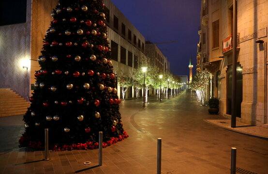 A Christmas tree is pictured at a closed shopping district in downtown Beirut