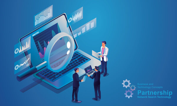 Internet network search technology, business people use the magnifying glass to search on laptops, Data analytics for marketing solutions, or financial performance. statistics concept.design isometric