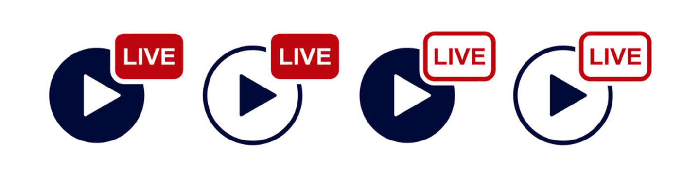 Set of live broadcast icons, logo. Live streaming, video, button, live broadcast button. Vector illustration.