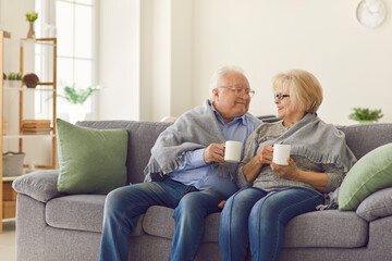 Smiling mature loving couple grandparents sitting together on sofa under blanket and warming up...