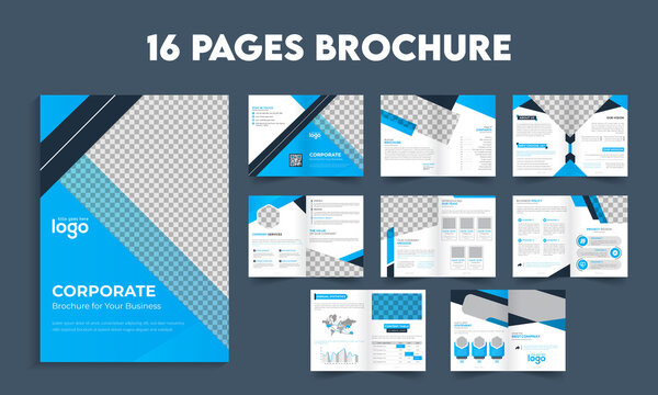 Bifold brochure design template, company profile or business catalog; 16 pages bifold brochure template design;