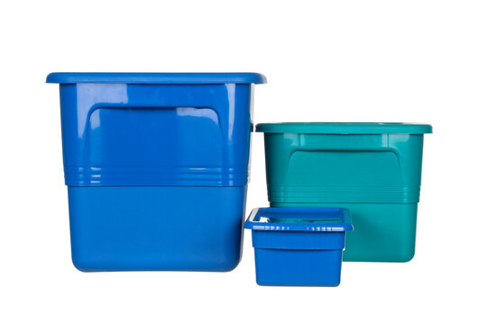 Colored plastic boxes in different sizes
