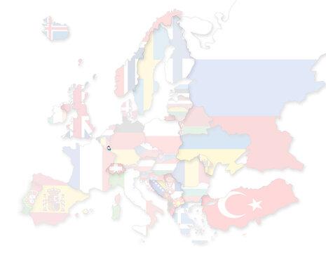 3D Europakarte auf der Luxemburg hervorgehoben wird und die restlichen Flaggen transparent sind