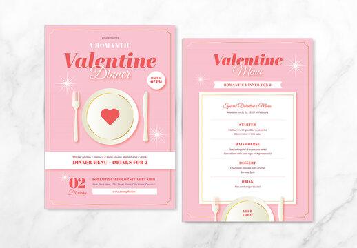 Valentine's Day Dinner Flyer & Menu