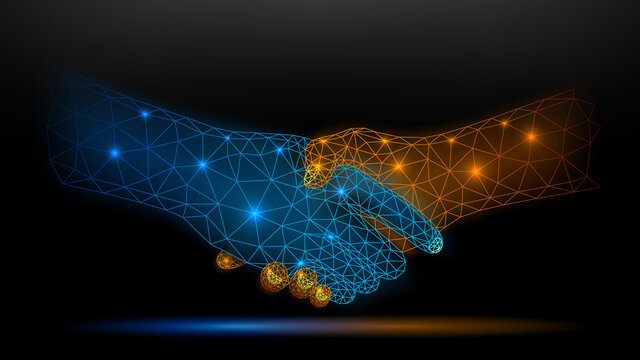 Blue and Gold Wireframe Glowing Handshake on Dark Background, Partnership and Trust Concept. Vector Illustration