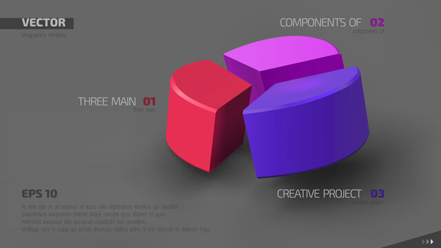 3d vector infographic banner with three color sectors and place for your text. Eps10.