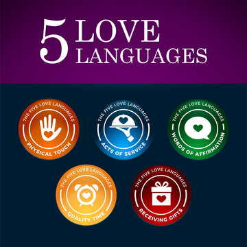 The Five Love Languages. gradient color design. Vector Illustration
