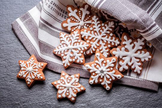 gingerbread cookies on napkin