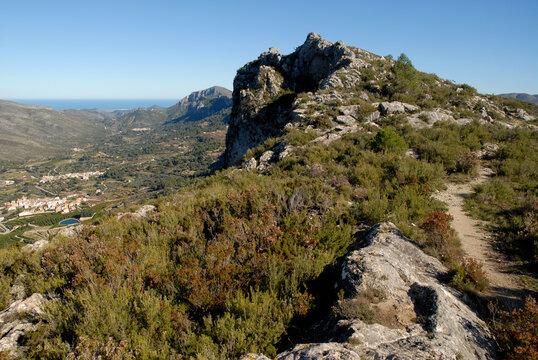 Beautiful landscape of Sierra de la Forada above the Vall de Gallinera, Alicante province, Spain, Spain