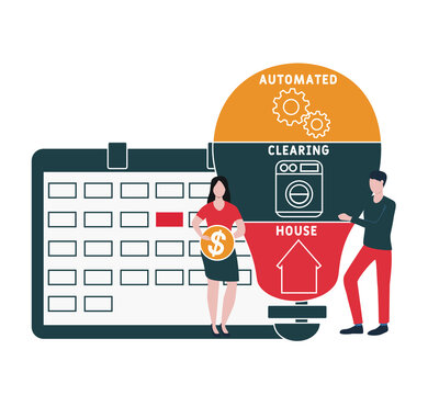 Flat design with people. ACH - Automated Clearing House acronym, business concept background.   Vector illustration for website banner, marketing materials, business presentation, online advertising.