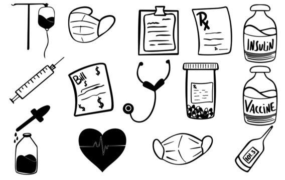 medical icons set, hand drawn vector illustration