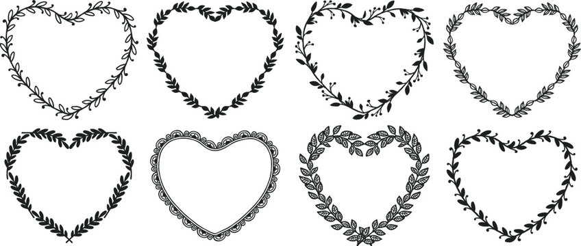 Hand drawn rustic vintage heart wreaths with lettering. Floral vector graphic. Nature design elements