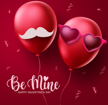 Valentines couple balloons vector concept design. Happy valentines be mine text with red lovers balloon decoration elements in red background. Vector illustration