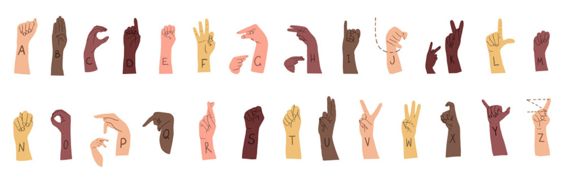 American sign language alphabet horizontal poster with many races hands. Different skin colors vector illustration for ASL education poster, card, brochure, canvas, website, books