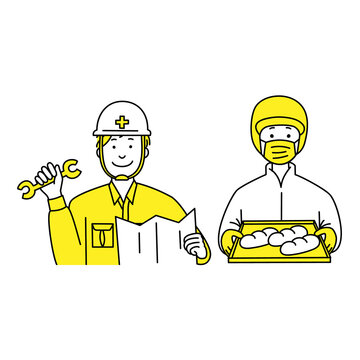 工事現場作業員と食品工場作業員