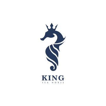 King Sea Horse Logo, Crown And Seahorse Icon Illustration, Isolated On White Background, Design Icon Vector Illustration