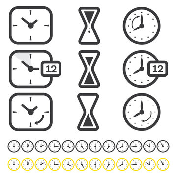 Set of Time and Clock Icon Isolated on White. Outline Objects.