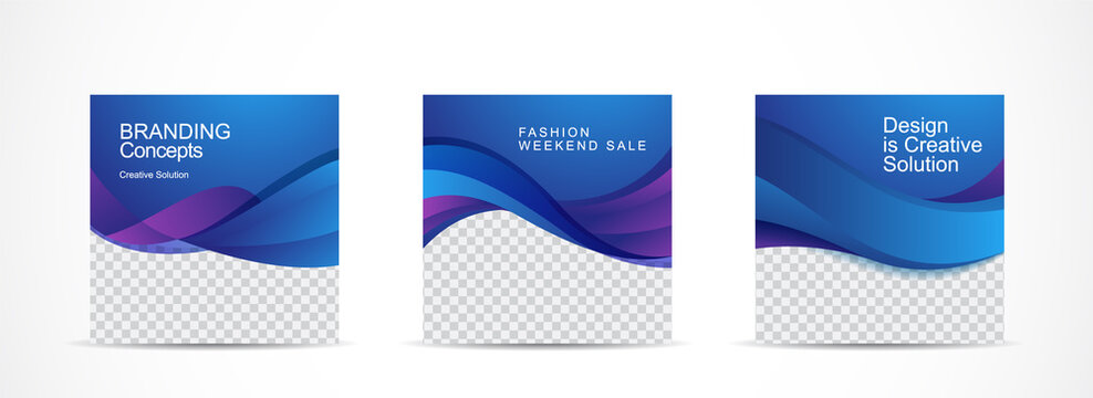 Set square banner template for social media post and web internet ads.vector illustrations.