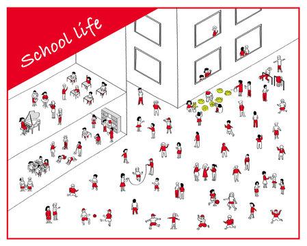 学校生活/シンプルな線画手描きイラスト/校舎と運動場の風景/元気な子供達/赤色✖️黒