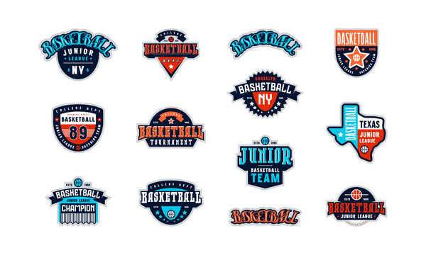 Badges set of basketball tournament