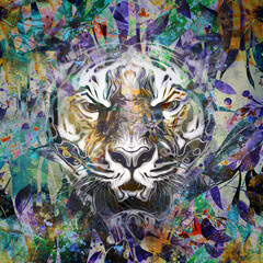 colorful illustration of angry tiger on black background