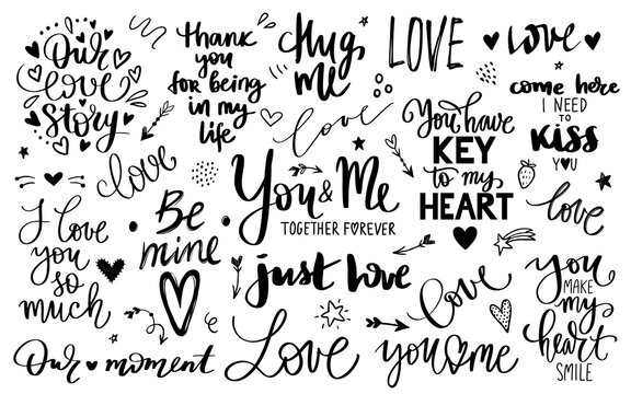 Love lettering quotes collection, Romantic calligraphy phrases, Vector inscriptions isolated on white